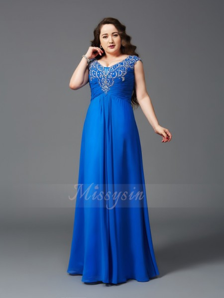 A-Line/Princess Short Sleeves Straps Long Royal Blue Dresses
