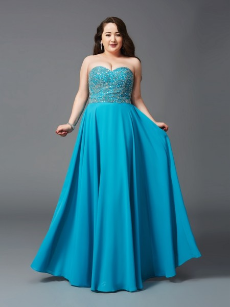 A-Line/Princess Sleeveless Sweetheart Long Royal Blue Dresses