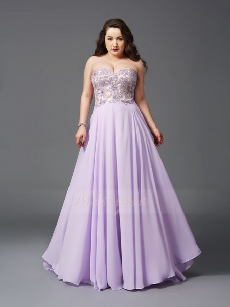 A-Line/Princess Sleeveless Sweetheart Sweep/Brush Train Lilac Dresses