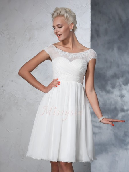 A-Line/Princess Short Sleeves Sheer Neck Short Ivory Wedding Dresses