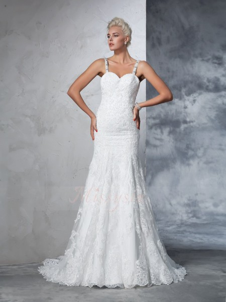 Trumpet/Mermaid Sleeveless Spaghetti Straps Chapel Train Ivory Wedding Dresses
