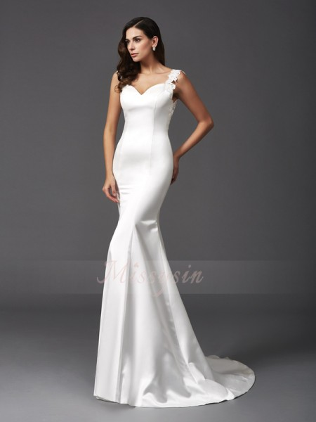 Trumpet/Mermaid Sleeveless Straps Sweep/Brush Train Ivory Wedding Dresses