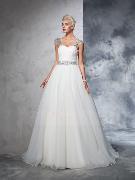 Ball Gown Sleeveless Straps Chapel Train Ivory Wedding Dresses