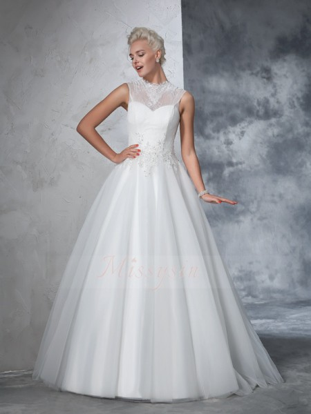 Ball Gown Sleeveless High Neck Long Ivory Wedding Dresses
