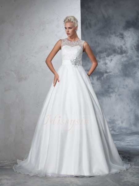 Ball Gown Sleeveless Sheer Neck Chapel Train Ivory Wedding Dresses