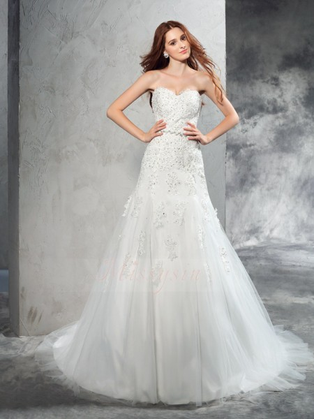 Sheath/Column Sleeveless Sweetheart Court Train Ivory Wedding Dresses