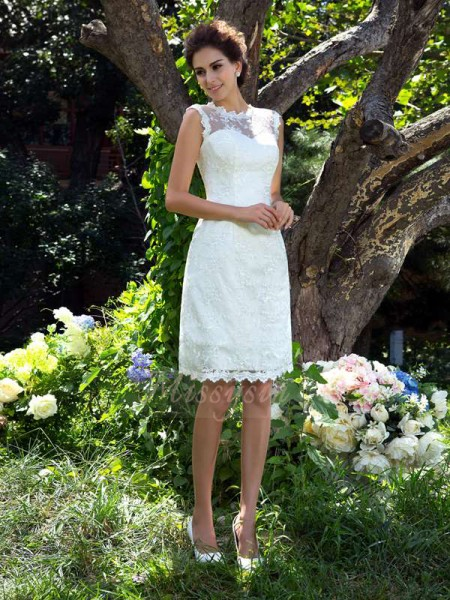 A-Line/Princess Sleeveless Sheer Neck Short Ivory Wedding Dresses