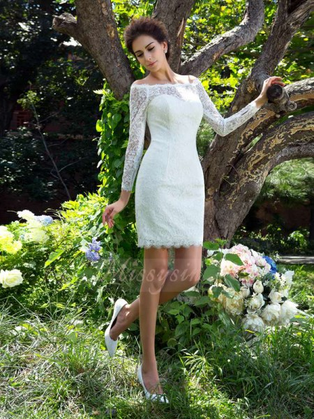 Sheath/Column Long Sleeves Scoop Short Ivory Wedding Dresses