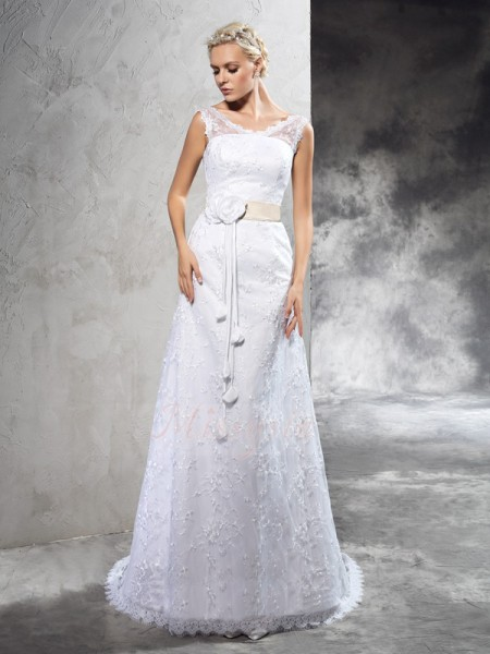Sheath/Column Sleeveless Sheer Neck Court Train Ivory Wedding Dresses