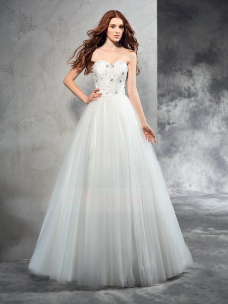 A-Line/Princess Sleeveless Sweetheart Long Ivory Wedding Dresses