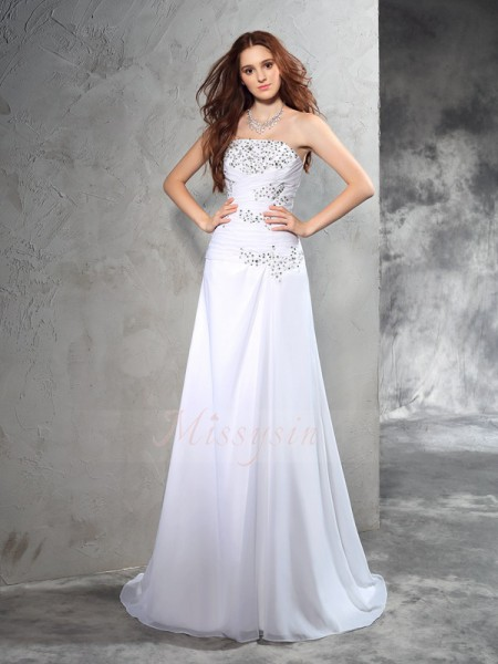 Sheath/Column Sleeveless Strapless Sweep/Brush Train White Wedding Dresses
