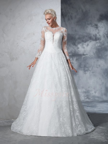 Ball Gown Long Sleeves Jewel Court Train Ivory Wedding Dresses