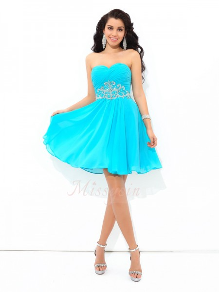 A-Line/Princess Sleeveless Sweetheart Short Blue Dresses