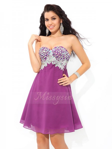 A-Line/Princess Sleeveless Sweetheart Short Lavender Dresses