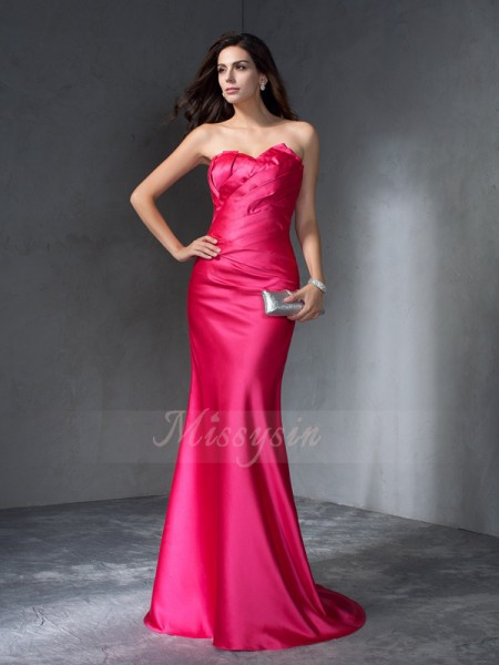Trumpet/Mermaid Sleeveless Sweetheart Sweep/Brush Train Fuchsia Dresses