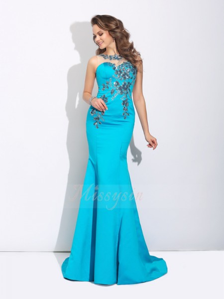 Trumpet/Mermaid Sleeveless Scoop Sweep/Brush Train Blue Dresses