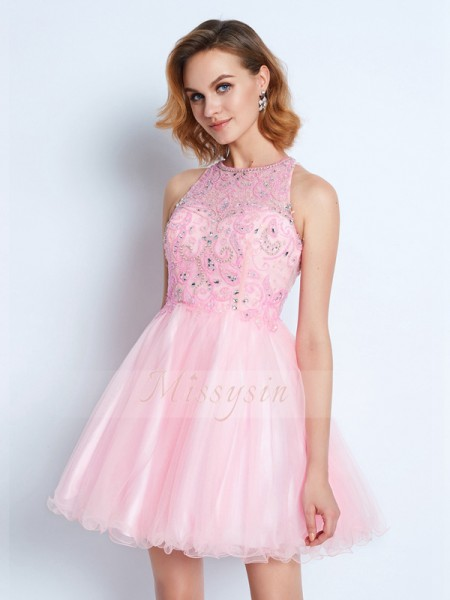 A-Line/Princess Sleeveless Short Pink Homecoming Dresses
