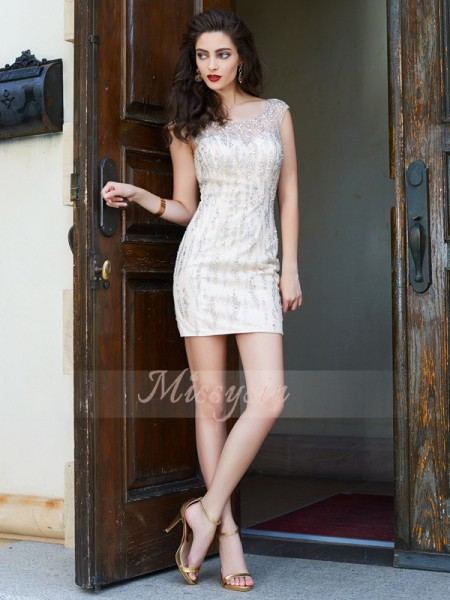 Sheath/Column Sleeveless Short Ivory Homecoming Dresses