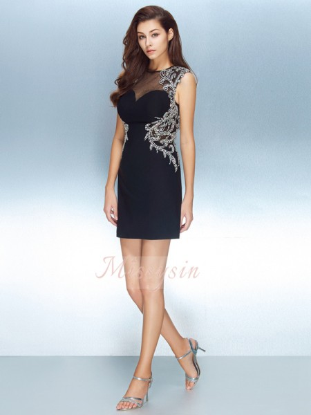 Sheath/Column Short Sleeves Short Dark Navy Homecoming Dresses