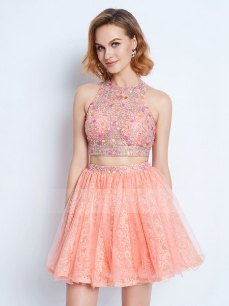 A-Line/Princess Sleeveless Short Pink Two Piece Dresses