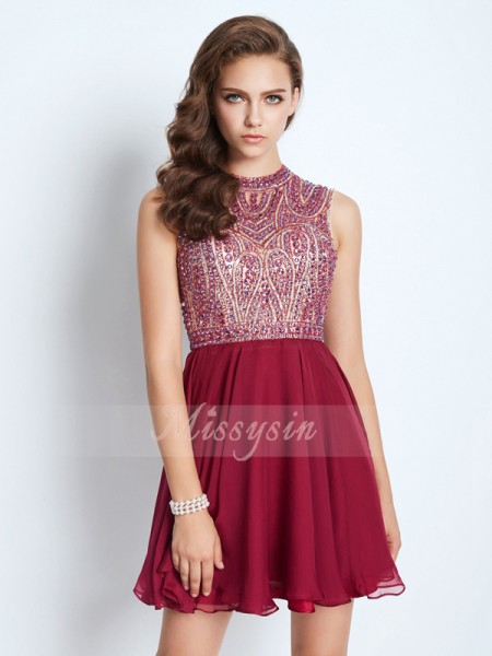 A-Line/Princess Sleeveless Short Burgundy Homecoming Dresses