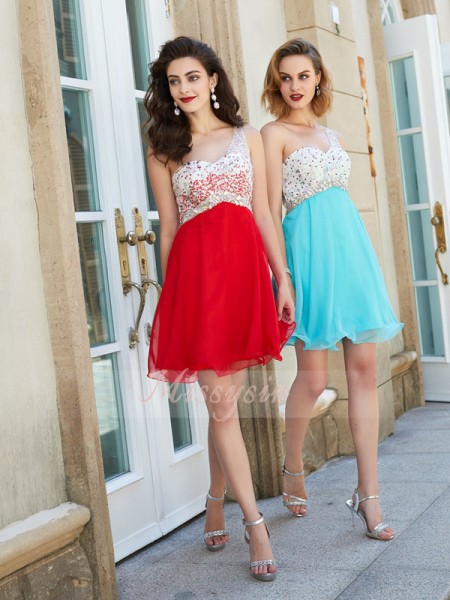 A-Line/Princess Sleeveless Short Red,Light Sky Blue Homecoming Dresses