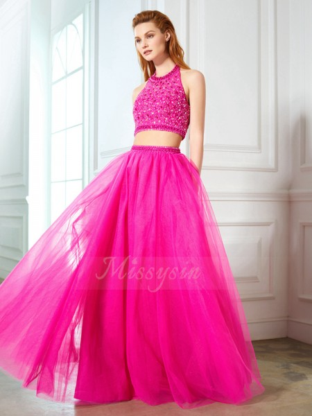 Sleeveless Halter Long Fuchsia Prom Dresses
