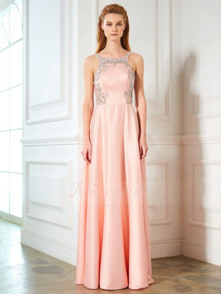Sleeveless Scoop Long Pink Prom Dresses