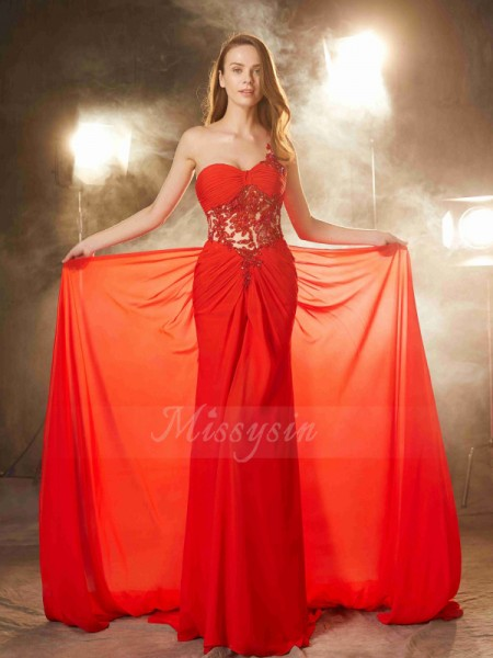 Sleeveless One-Shoulder Sweep/Brush Train Red Prom Dresses
