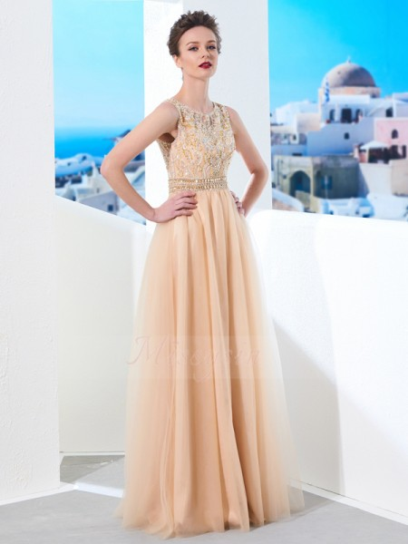 Sleeveless Scoop Long Champagne Prom Dresses