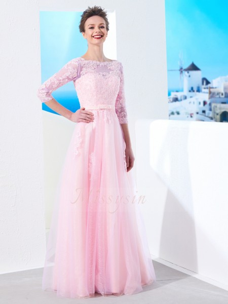 1/2 Sleeves Bateau Long Pink Prom Dresses