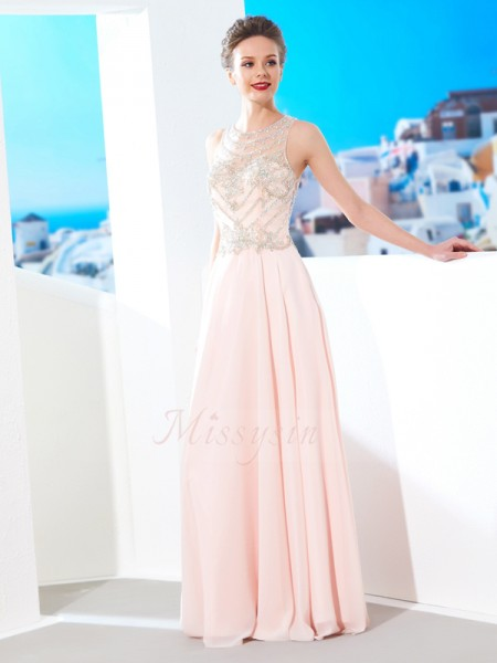 Sleeveless Scoop Long Pearl Pink Prom Dresses