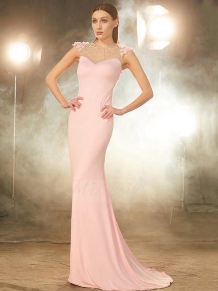 Short Sleeves Jewel Sweep/Brush Train Pink Prom Dresses