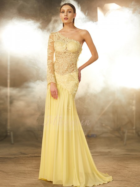 Long Sleeves One-Shoulder Sweep/Brush Train Yellow Prom Dresses