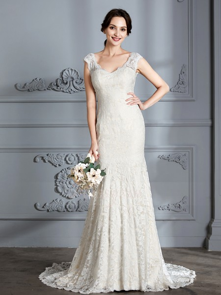 Trumpet/Mermaid V-neck Sleeveless Sweep/Brush Train Ivory Wedding Dresses