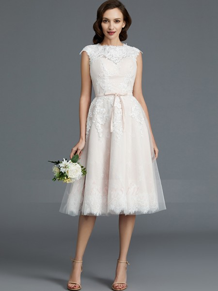 A-Line/Princess Bateau Sleeveless Knee-Length Ivory Wedding Dresses