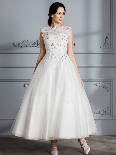 Ball Gown Scoop Sleeveless Tea-Length Ivory Wedding Dresses