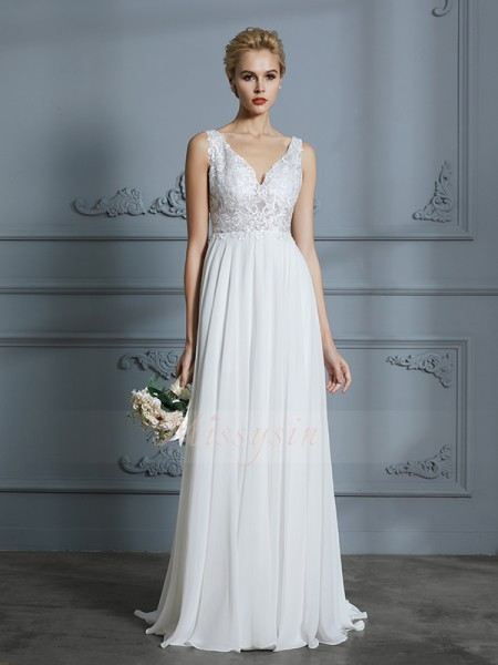 A-Line/Princess V-neck Sleeveless Sweep/Brush Train Ivory Wedding Dresses