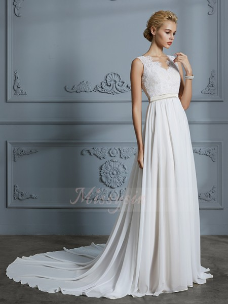 A-Line/Princess V-neck Sleeveless Court Train Ivory Wedding Dresses