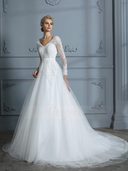 Ball Gown V-neck Long Sleeves Court Train Ivory Wedding Dresses