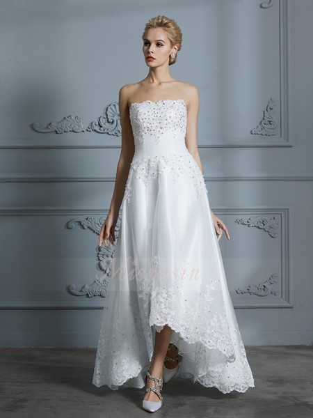 A-Line/Princess Sweetheart Sleeveless Asymmetrical Ivory Wedding Dresses