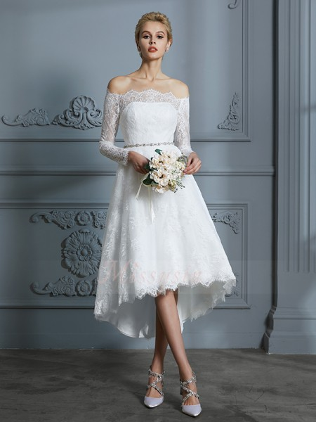 A-Line/Princess Off-the-Shoulder Long Sleeves Asymmetrical Ivory Wedding Dresses