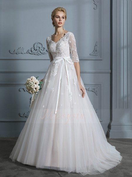 Ball Gown V-neck 1/2 Sleeves Court Train Ivory Wedding Dresses