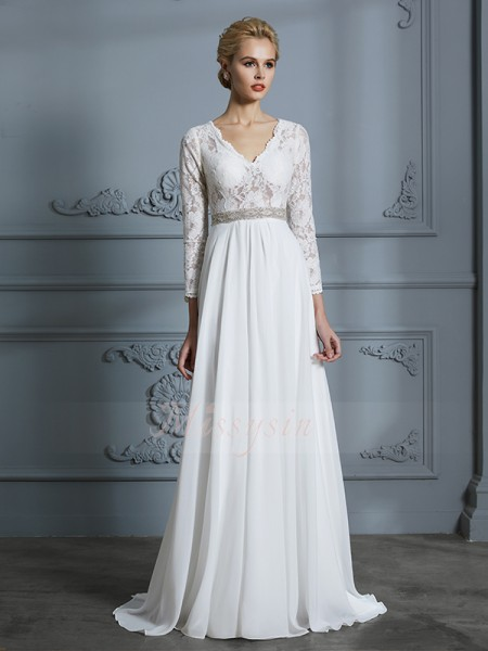 A-Line/Princess V-neck 3/4 Sleeves Sweep/Brush Train Ivory Wedding Dresses
