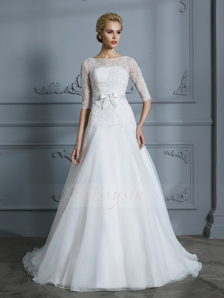 A-Line/Princess Scoop 1/2 Sleeves Court Train Ivory Wedding Dresses