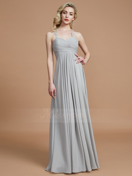 A-Line/Princess Floor-Length Sweetheart Sleeveless Grey Bridesmaid Dresses