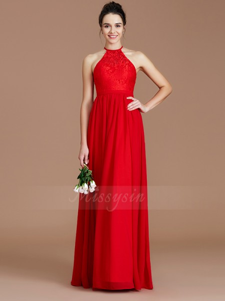 A-Line/Princess Floor-Length Halter Sleeveless Burgundy Bridesmaid Dresses