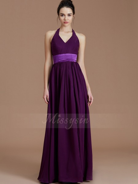 A-Line/Princess Floor-Length Halter Sleeveless Grape Bridesmaid Dresses