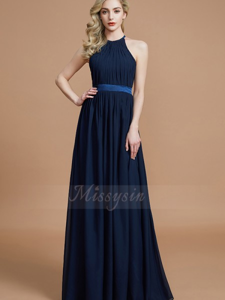 A-Line/Princess Floor-Length Halter Sleeveless Dark Navy Bridesmaid Dresses