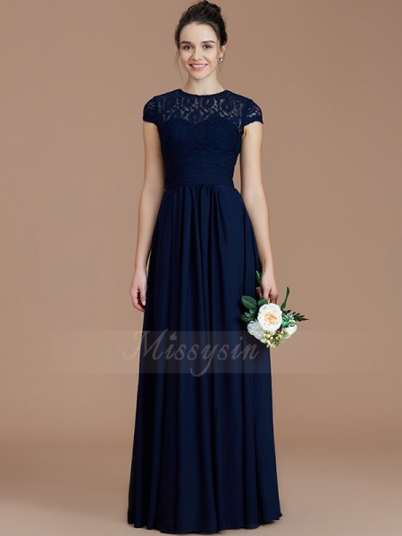 A-Line/Princess Floor-Length Jewel Short Sleeves Dark Navy Bridesmaid Dresses